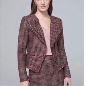 WHBM tweed moto frayed jacket size 6